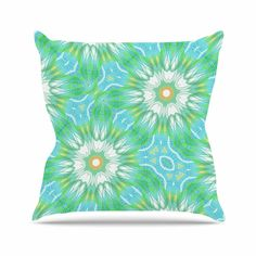 "Alison Coxon ""Fresh Daisy"" Green Yellow Digital Throw Pillow"