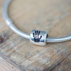Handprint Charm Bead. Beautiful addition to your (Pandora, Lovelinks, Troll, Chamilia) charm bracelet.