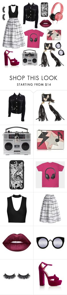 """""""🎶Music Is My Escape🎶"""" by karmicakarmen ❤ liked on Polyvore featuring Music Notes, Corto Moltedo, Dolce&Gabbana, Karl Lagerfeld, Casetify, Chicwish, Lime Crime, Battington and Aquazzura"""