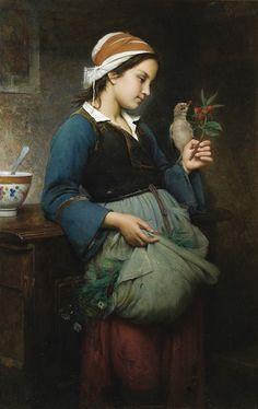 emile-auguste-hublin1830-1891-french-fillete-loiseau.jpg (484×768)