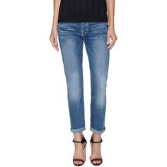 7 for All Mankind Josefina Skinny Boyfriend Jean ($99) ❤ liked on Polyvore featuring jeans, blue, mens jeans, boyfriend fit jeans, super skinny jeans, distressed skinny jeans and mid-rise jeans