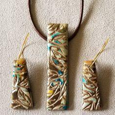OOAK Mokume Gane Polymer Clay Pendant and Earring set Polymer Clay Pendant, Polymer Clay Earrings, Fimo Clay, Metal Clay Jewelry, Bead Jewelry, Shabby Chic Jewelry, Driftwood Jewelry, Polymer Clay Projects, Jewelry Crafts