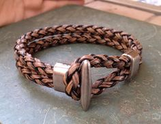 Mens Brown Leather braided Cuff Bracelet, Leather Wrist Band Wristband Handcrafted Jewelry The perfect piece to layer with other bracelets - wear