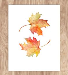 Autumn Leaves Watercolor Print by Fin and Feather Art on Scoutmob