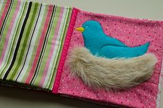 Home Made Lovely: Audrey's Busy Book. bird nest for baby book