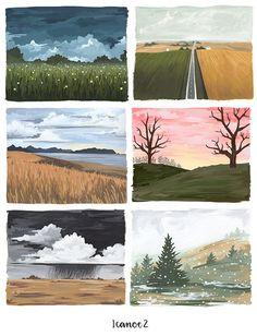 Landscape paintings in Gouache Landscape Artwork, Landscape Illustration, Watercolor Landscape, Watercolor Paintings, Illustration Art, Guache, Posca, Painting & Drawing, Gouache Painting