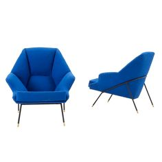 Set of 2 Italian club chairs By Bozzi for Saporiti, 1950's | From a unique collection of antique and modern lounge chairs at http://www.1stdibs.com/furniture/seating/lounge-chairs/