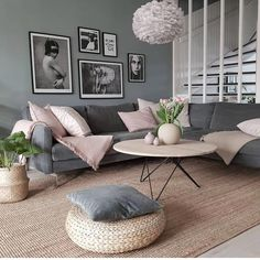 This beautiful picture is the most liked in 2018 of @js.interior. 😍👏Isnt it a stunning living room with its soft dusty colors? ❤👌 Tag me in… #ModernHomeDecorLivingRoom