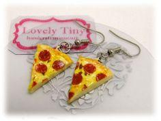 Kawaii Fashion Accessories Handmade Pepperoni Pizza Charms Earrings.