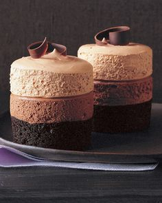 Triple-Chocolate Mousse Cake Recipe. The dark-chocolate cake at the base is baked in ramekins. Two layers of plush, pillowy mousse -- bittersweet and milk chocolates -- are piped on top and capped with semisweet chocolate curls. Chill and serve as just the right sweet for your sweet.