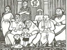 An illustration by Bapu south Indian  family photo.