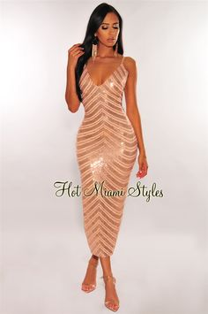 RSVP to that special event in our rose gold sequins dress. Featuring a gorgeous embellished beads detail and midi length. Rose Gold Sequin Dress, Rose Gold Dresses, Grecian Dress, Miami Fashion, Women's Fashion, Hot Miami Styles, Kinds Of Clothes, Gold Sequins, Fashion Dresses