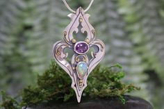 Statement Pendant, Amethyst, Opal, 22k Gold, Sterling Silver, OOAK, Art Nouveau style, Handmade, Ready to Ship, Game of Thrones, Medieval