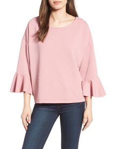 On SALE at 40% OFF! halogen oversized bell sleeve top by HalogenR. Fluttery bell cuffs brings a romantic feel to a simple crepe knit top with drop-shoulder styling.