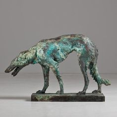 bronze sculpture borzoi dog ca 1930