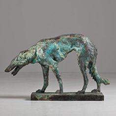 bronze sculpture borzoi dog ca 1930