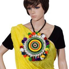 Seashell & Woolen Necklace for Chaniya Choli. Bohemian Jewellery, Thread Jewellery, Fabric Necklace, Fabric Jewelry, Navratri Dress, Navratri Special, Crochet Accessories, Jewelry Patterns, Handcrafted Jewelry