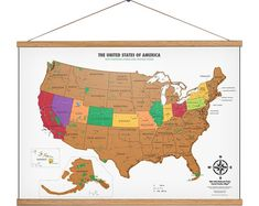 Scratch off USA Map with National Parks And Hanger Frame National Park Posters, Us National Parks, Best Vacation Destinations, Best Vacations, Cat Gifts, Cat Lover Gifts, Vintage Travel Posters, Vintage World Maps, Travel Wall Decor
