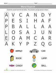 This word search may seem like mindless fun, but as your child hunts for words she& honing her spelling and observational skills! Word searches are a great way to build literacy confidence. Kindergarten Word Search, English Worksheets For Kindergarten, Fun Worksheets, Vocabulary Worksheets, Writing Worksheets, Vocabulary Words, Kindergarten Reading, Kindergarten Activities, Word Study
