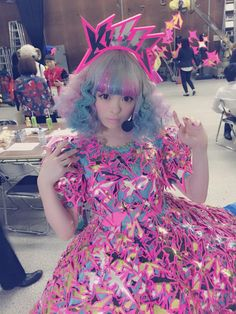 "Kyary Pamyu Pamyu / きゃりーぱみゅぱみゅ - amazingly fragmented pink and blue ""Killer"" dress"