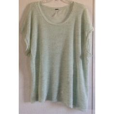 Free People Mint Green Tunic Good condition. A few snags here and there, could probably just be cut off. A part of the neck has been sewn back together, but I couldn't even find it again so that's no issue. Linen blend Free People tunic top. Kind of a cross between a sweater and a top with the thin knit. The bottom hem is asymmetrical, longer on one side than the other. The sides are cut diagonally so the seams hang in the front and back. Mint green with tiny flecks of brown woven in. Sleeve…