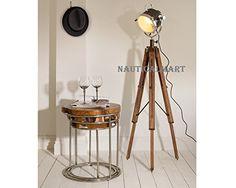 Vintage Wooden Tripod Spotlight Nautical Floor Lamp Stand Lighting Home Decor by NauticalMart Industrial Floor Lamps, Spotlight Lamp, Floor Standing Lamps, Tripod Lamp, Next At Home, Vintage Industrial, Nautical, Living Spaces, Lights