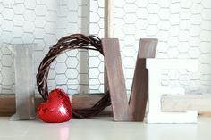 Rustic LOVE letters, great mantel decor! So easy to recreate!! #valentinesday