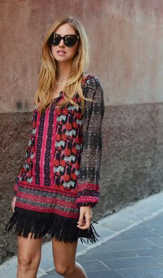 Boho chic fringe dress for summer #StreetStyle