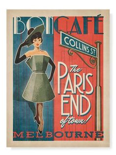 Melbourne, Paris End Art Print Our Iconic Buildings and Signs art prints are printed with the highest commercial grade pigment inks on premium grade Cafe Posters, Melbourne Cafe, Australian Vintage, Art Nouveau Poster, Vintage Cafe, Coffee Poster, Paris, Vintage Travel Posters, Vintage Advertisements