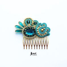 Emerald and gold original hair comb soutache  by MrOsOutache, $45.00