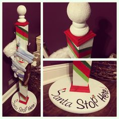 Christmas stocking stand. Hand made with wood, paint, glue, glitter and nails with hooks to hold stockings.