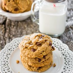 These Peanut Butter Oatmeal Chocolate Chip Cookies are loaded with oatmeal, peanut butter and chocolate chips making them super yummy and somewhat healthy.