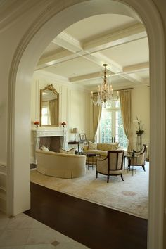 coffered ceiling with simple wainscoting..just what we are looking for.
