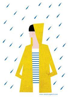 Lluvia y chubasquero amarillo. Veronica Grech