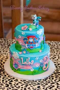 What a pretty Paw Patrol cake by Sweetly Southern Cakery