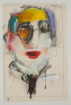 Richard Hickam Study for R. 2005 mixed media on paper 26 x 17 in. Abstract Faces, Abstract Portrait, Portrait Art, Abstract Art, Human Art, Weird Art, Graffiti, Texture Art, Figure Painting