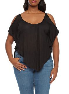 aa0b80615d5 Plus Size Cold Shoulder Top With Short Dolman Sleeves