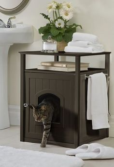Conceal your cat's litter box in style with this Espresso Cat Washroom. This color is designed to match trendy dark wood furniture and accessories, and is suita Dark Wood Furniture, Cat Furniture, Furniture Ideas, Litter Box Covers, Space Saving Furniture, Animal House, Dog Houses, Animal Design, Nightstand