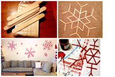 Fast and easy last minute Christmas decorations. Snowflakes out of Popcicle sticks. The small ones are made from clothespins. Paint red. Spray some glitter on them if you want. And done