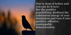You've done it before and you can do it now. See the positive possibilities. redirect the substantial energy of your frustration and turn it into positive, effective, unstoppable determination.