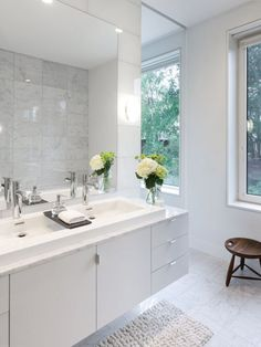 Bathroom Design Idea - Extra Large Sinks Or Trough Sinks .This long sink has a wood divider on top of it that lets water flow underneath it and provides an extra spot to store a few small items. Large Bathroom Design, Large Bathroom Sink, Bathroom Vanity Designs, Large Bathrooms, Bathroom Wall Decor, Bathroom Interior, Master Bathroom, Bathroom Ideas, White Bathroom