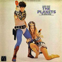 """This is an LP titled Gustav Holst """"The Planets"""". Featuring Sir Adrian Boult and The Vienna State Opera Orchestra and Academy Chorus. It is a classical music album with a bizarre sci fi soft porn album cover Lp Cover, Vinyl Cover, Cover Art, Lps, Bad Album, Greatest Album Covers, Music Album Covers, Classic Album Covers, Music Albums"""
