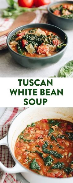 This filling Tuscan White Bean Soup is packed with vegetables and flavor for a fun twist on a classic italian Ribolitta recipe. Its gluten-free and vegan and made in one-pot for easy prep and clean-up. #glutenfree #vegan #soup #healthysoup Healthy Soup Vegetarian, Healthy Soup Recipes, Chili Recipes, Healthy Eating, Vegan Recipes, Vegan Soups, Healthy Lunches, Protein Recipes, Healthy Dinners
