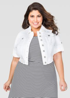 Cropped 3/4 Sleeve Jean Jacket - Ashley Stewart