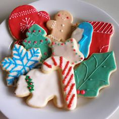 """Soft Cut-Out Cookies -  3 1/3c flour, add extract of some kind. Bake 8-10 minutes, until they no longer look """"wet"""" in the center."""