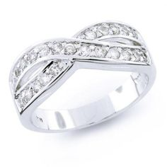 Twist Pave Cubic Zirconia Criss Cross CZ Le Circle Infinity Anniversary Wedding Band Ring For Women 925 Sterling Silver Bling Jewelry, Jewelry Shop, Jewelery, Jewelry Bracelets, Infinity Jewelry, Infinity Rings, Dreamland Jewelry, Silver Diamonds, Diamond Are A Girls Best Friend