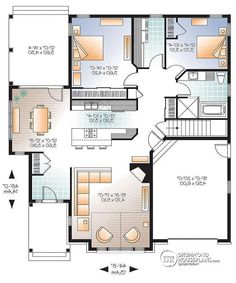 W3323-V2 - Affordable Split-entry Modern Bungalow house plan with ...