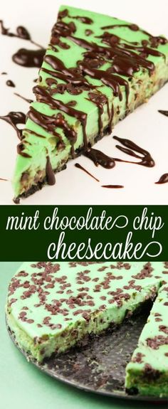 Mint Chocolate Chip Cheesecake - This cheesecake is so festive and deliciously minty!