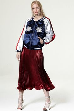 Jimmy Metallic Satin Pleated Skirt Discover the latest fashion trends online at storets.com