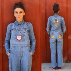 """84 Likes, 3 Comments - @tatugogo on Instagram: """"Hand stitched 90's overalls - women's XS-S - $125 free US shipping -DM to purchase 💙✌"""""""